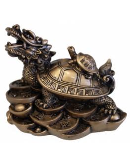 Feng shui - Statuette - Dragon Tortue en résine dorée 9 cm
