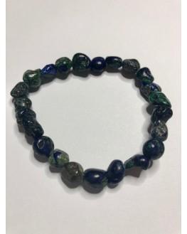 Bracelet pierre roulée azurite-malchite
