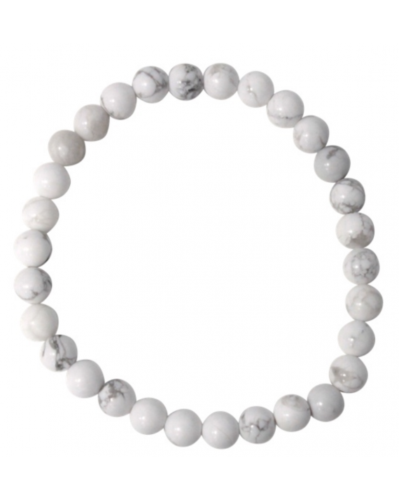 Bracelet Howlite Blanche Perles rondes 6 mm