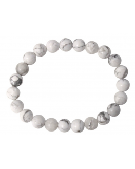 Bracelet Howlite Blanche Perles rondes 8 mm