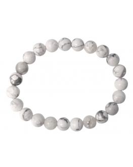 Bracelet Howlite Blanche Perles rondes 8 mm
