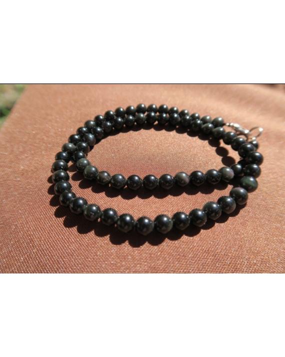 Collier obsidienne oeil célèste perles de 6mm