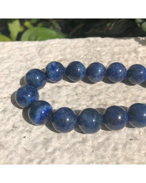 Collier lapis lazuli perles 14mm