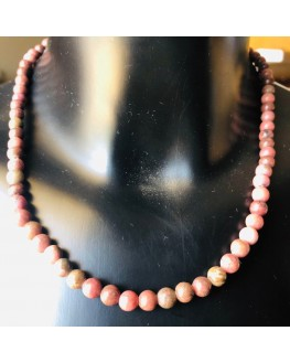 Collier  Rhodonite  Perles 6mm