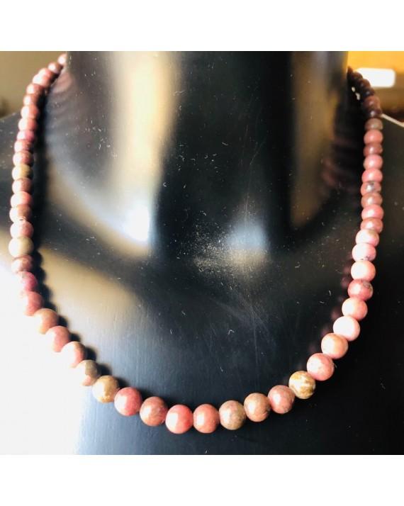 Collier  Rhodonite  Perles 6mm