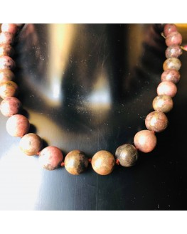 Collier  Rhodonite  Perles 12mm
