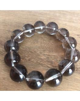 Bracelet cristal fumé perles de 14mm