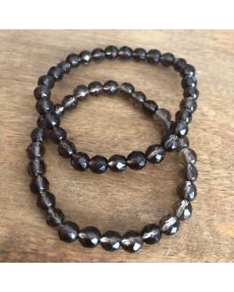 Bracelet cristal fumé perles facettées de 6mm
