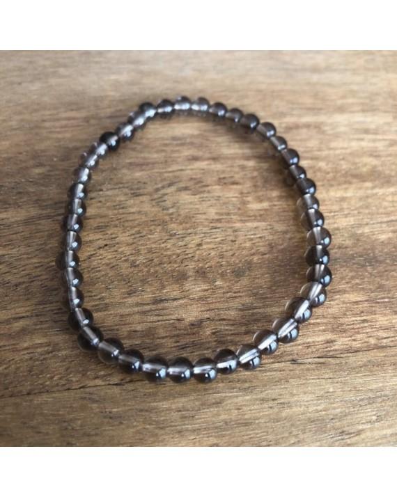 Bracelet cristal fumé perles de 4mm
