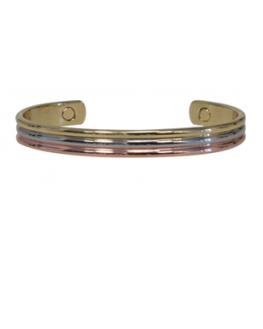 Bracelet cuivre avec Aimants Jonc arrondi 3 métaux