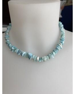 Collier en  Larimar perles baroques