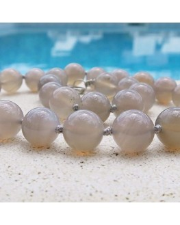 Collier Agate naturelle perles de 12mm