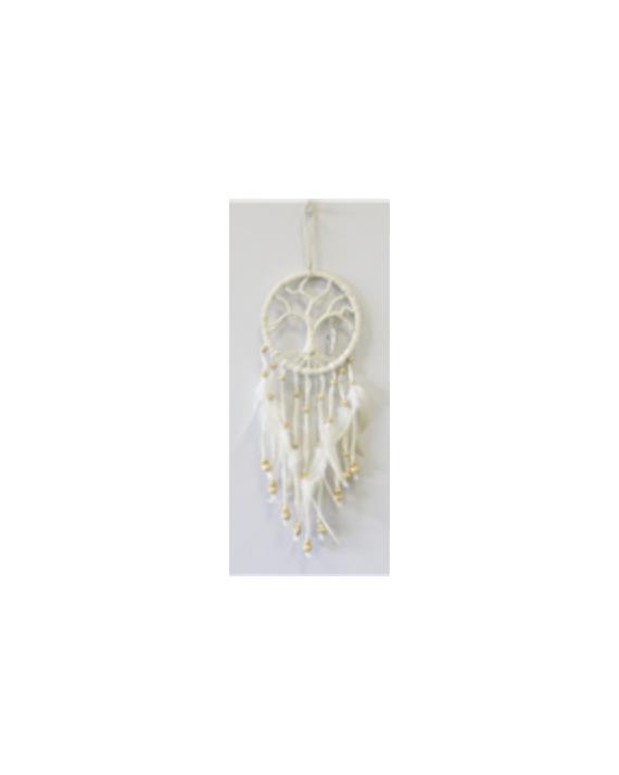 Attrape-rêves arbre de vie avec plume métal