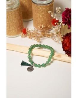 Bracelet Aventurine Verte Perles rondes 8 mm Pompon Breloque