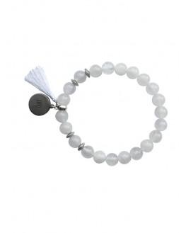 Cristal de Roche - Bracelet Perles rondes 8 mm Pompon Breloque