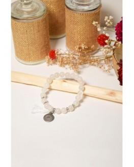 Bracelet Cristal de Roche Perles rondes 8 mm Pompon Breloque