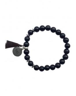 Obsidienne Noire - Bracelet Perles rondes 8 mm Pompon Breloque