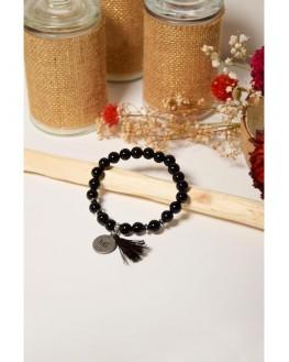 Bracelet Obsidienne Noire Perles rondes 8 mm Pompon Breloque