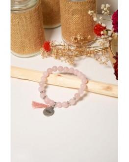 Bracelet Quartz Rose Perles rondes 8 mm Pompon Breloque