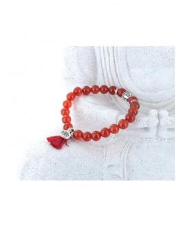 Cornaline - Bracelet Perles rondes 8 mm Pompon et Lotus