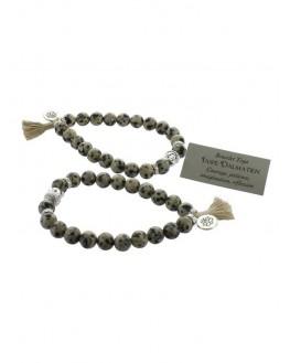 Bracelet Jaspe Dalmatien Perles rondes 8 mm Pompon et Lotus