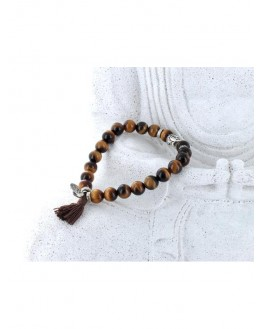 Bracelet Oeil de Tigre Perles rondes 8 mm Pompon et Lotus