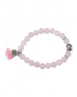 Bracelet Quartz Rose Perles rondes 8 mm Pompon et Lotus