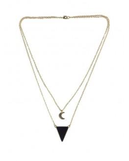 Collier Onyx Noir Triangle et Lune Chaîne dorée