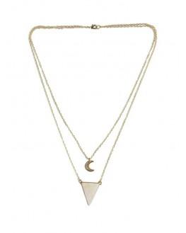 Quartz Rose - Collier Triangle et Lune Chaîne dorée