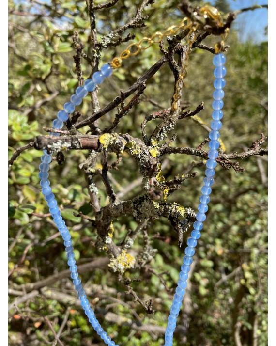 Collier Agate Bleue 4mm