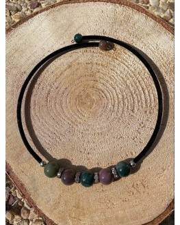 Collier d'agate indienne et strass