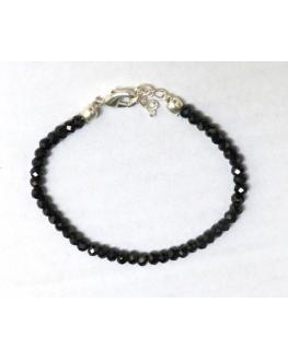 Bracelet Spinelle Noire Facetté 4mm