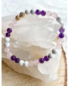 Bracelet Nala - Améthyste, Quartz Rose, Howlite