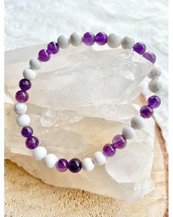 Bracelet Mylla - Améthyste, Howlite