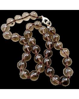 Collier Cristal fumé  perles de 12mm