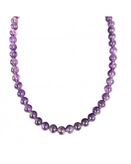Améthyste - Collier ajustable - perles de 8mm