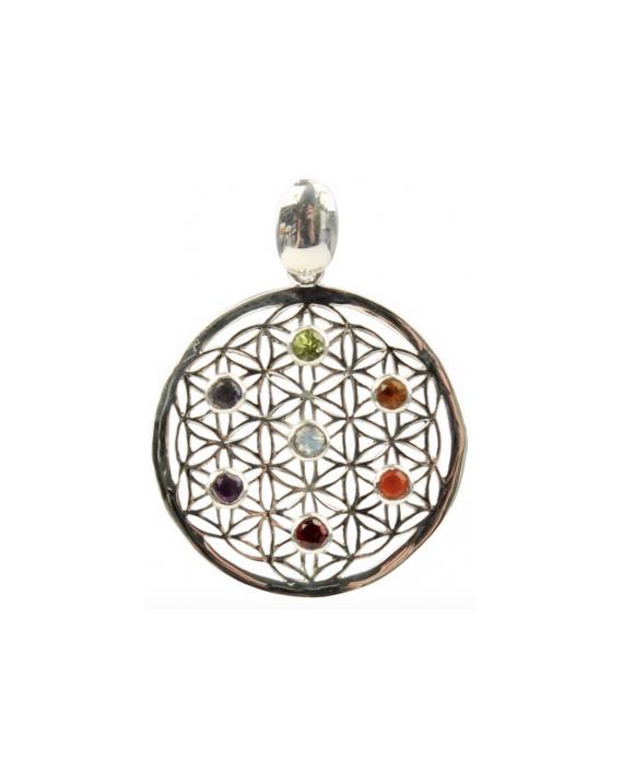 Médaillon énérgétique - Fleur de Vie - Pierres des Chakras - Argent