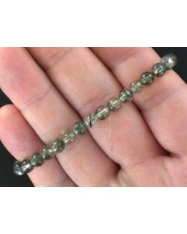 Bracelet boules 6mm Cristal fantôme vert élastique