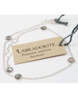 Bracelet pierres Labradorite 4 mm en Argent 925