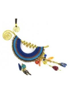 Collier Ethnique demie lune avec du Lapis Lazuli et de la Cornaline