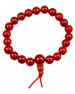 Bracelet Jaspe Rouge Mala Tibétain 21 pierres