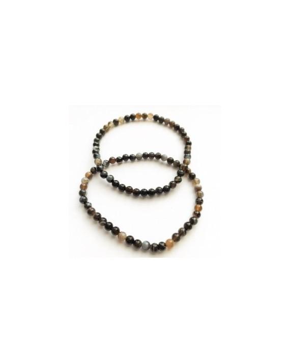 Bracelet obsidienne oeil céleste perles de 4mm
