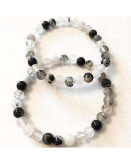 Bracelet quartz & tourmaline noire
