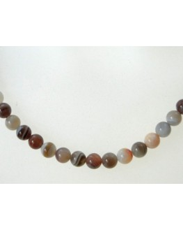 Collier en perles d'agate Botswana 4mm