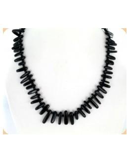 Collier - Onyx noire - Plaquettes