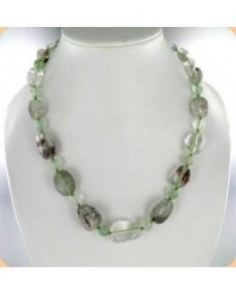 Collier Cristal fantôme vert pierres roulées 48cm