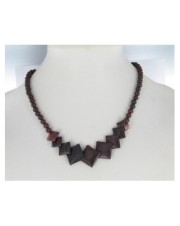 Collier - Obsidienne mahagonite - Pierres carrées