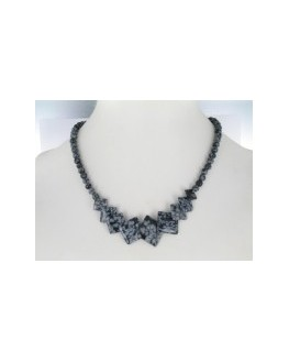 Collier - Obsidienne flocon de neige - Pierres carrées