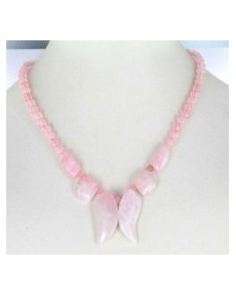 Collier Quartz rose feuilles
