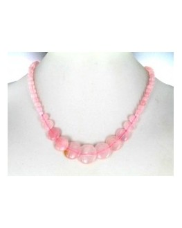 Collier Quartz rose disques 45cm